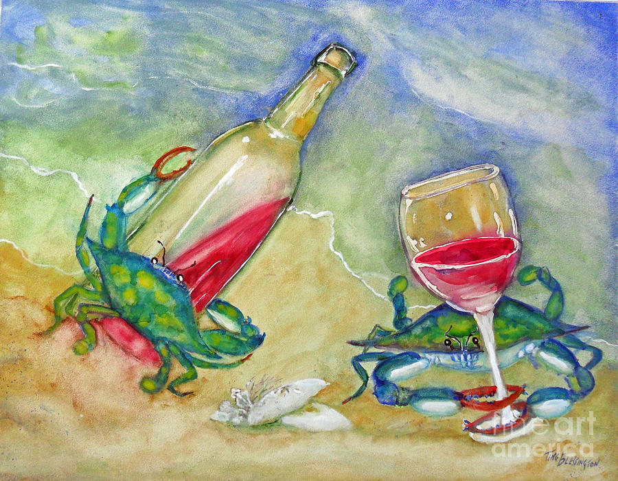 Crabs Painting - Tybee Blue Crabs Tipsy by Doris Blessington