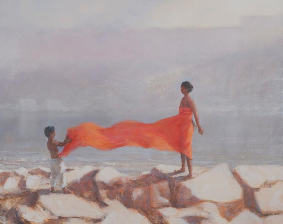 Sari Photograph - Tying A Sari, India, 2012 Acrylic On Canvas by Lincoln Seligman