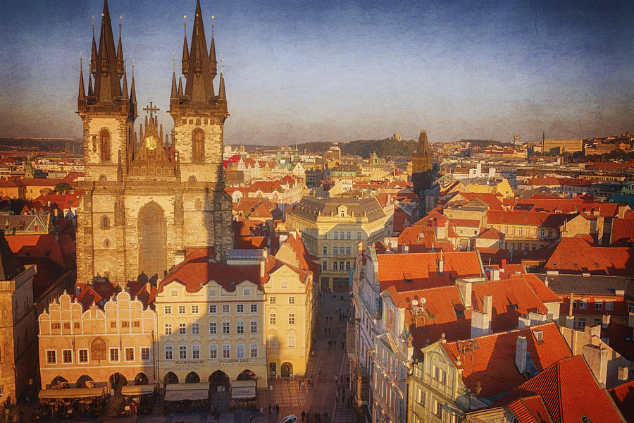 Gothic Style Photograph - Tyn Church Old Town Square by Joan Carroll
