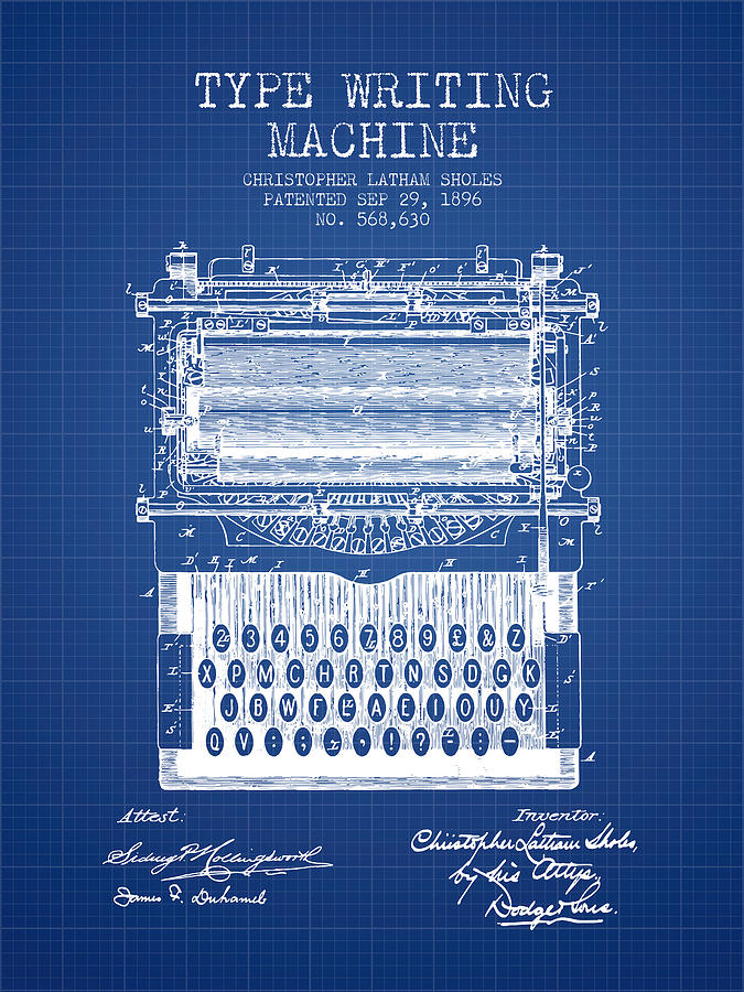 Type writing machine patent from 1896 blueprint digital art by typewriter digital art type writing machine patent from 1896 blueprint by aged pixel malvernweather Image collections