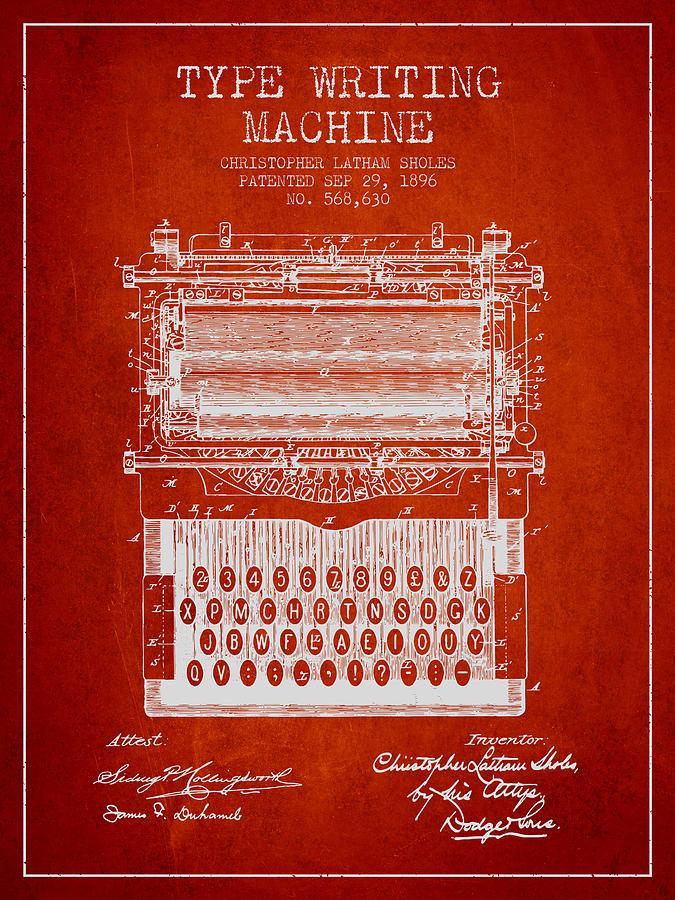 Type Writing Machine Patent From 1896 - Red Digital Art