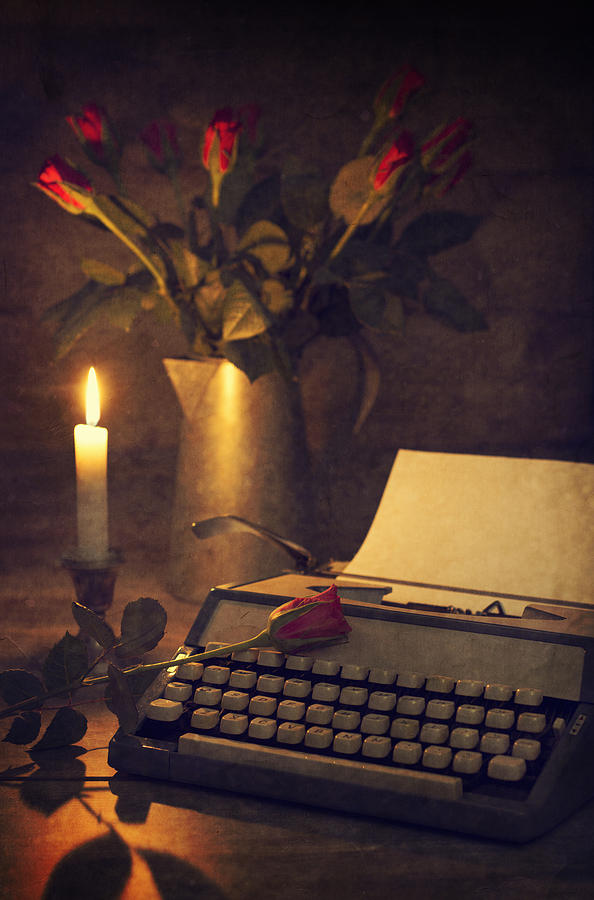 Bloom Photograph - Typewriter And Roses by Amanda Elwell