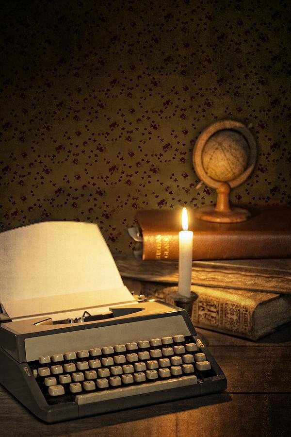 Glow Photograph - Typewriter With Globe by Amanda Elwell