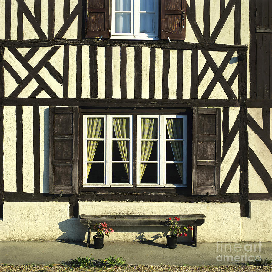 Architecture Building Buildings Day Daylight Daytime During Europe European Exterior Exteriors Facade Facades Fachwerk Fachwerk Frame Framed Framework France French Front Fronts Half Half-timbered House Houses In Mock Nobody Normandy Outdoor Photo Photos Shot Shots The Timber Timber-frame Timber-framed Timbered Tudor Tudorbethan Typical Photograph - Typical House  Half-timbered In Normandy. France. Europe by Bernard Jaubert