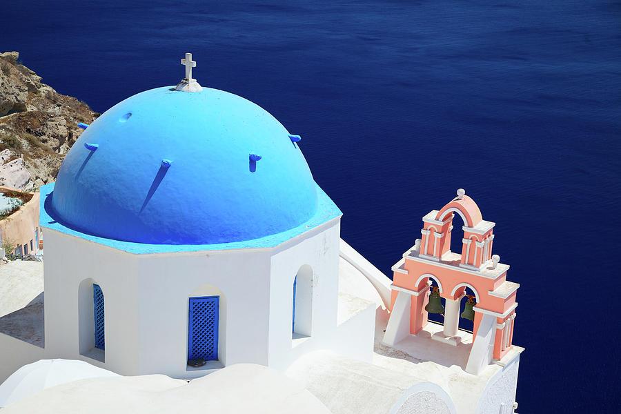 Typical Orthodox Greek Church In Oia Photograph by Nimu1956