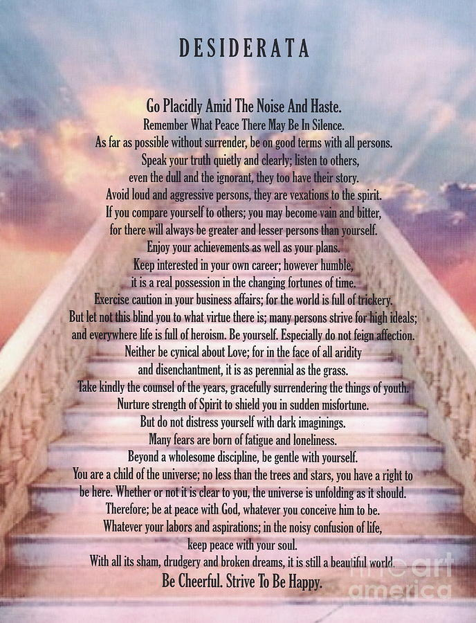 typography art desiderata poem on stairway to heaven painting by desiderata gallery. Black Bedroom Furniture Sets. Home Design Ideas