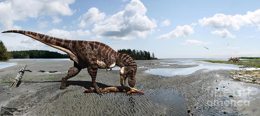 Dinosaur Digital Art - Tyrannosaurus enjoying seafood - wide format by Julius Csotonyi