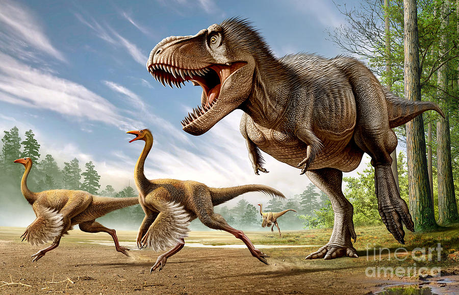 Tyrannosaurus Rex Attacking Two Digital Art By Mohamad Haghani