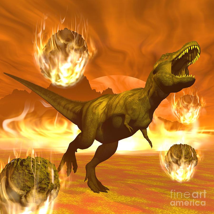 Dinosaur Digital Art - Tyrannosaurus Rex Struggles To Escape by Elena Duvernay