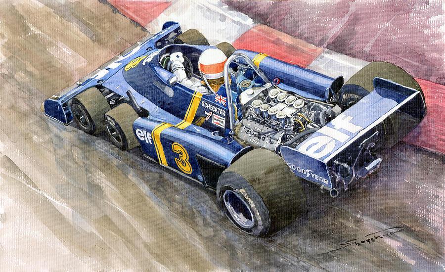 Watercolor Painting - Tyrrell Ford Elf P34 F1 1976 Monaco Gp Jody Scheckter by Yuriy  Shevchuk