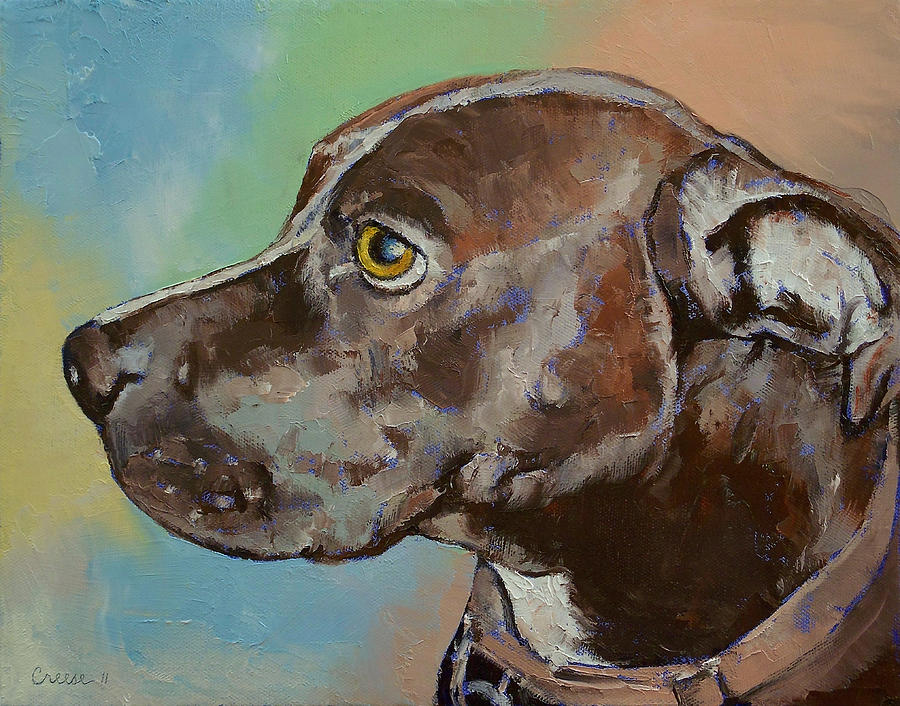 Pit Bull Painting - Dog Portrait by Michael Creese