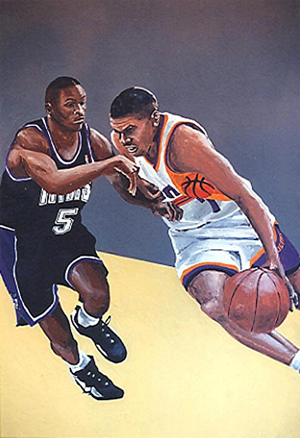 Sacramento Painting - Tyus Edney And Kevin Johnson by Paul Guyer