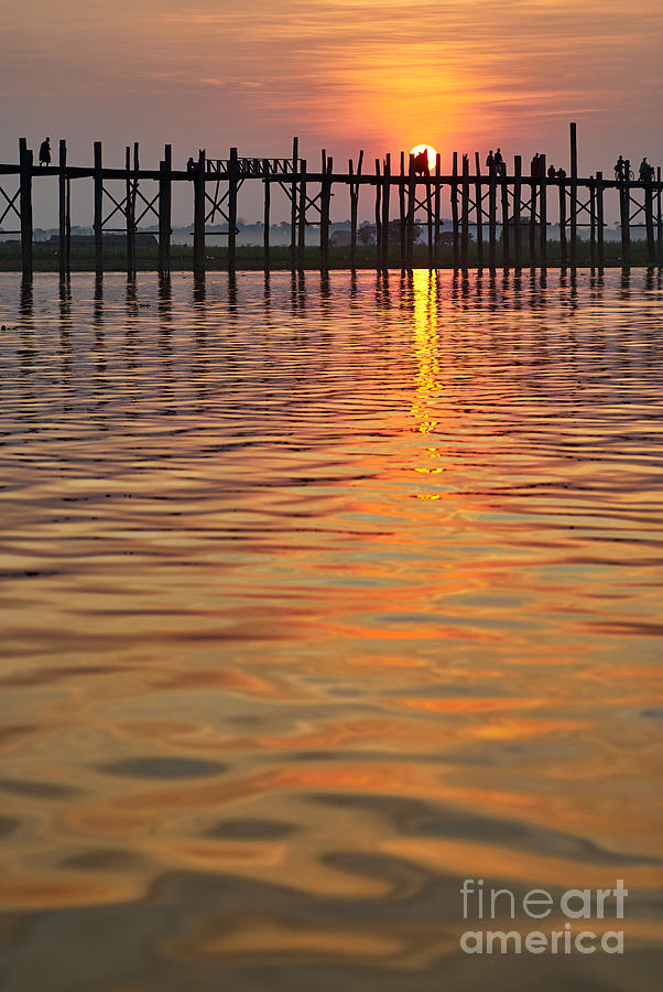 U Bein Bridge Photograph - U Bein Bridge In Mandalay by Juergen Ritterbach
