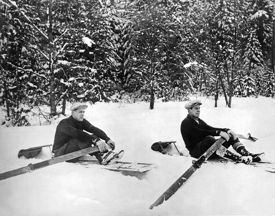1927 Photograph - U Of W Crew Stage Toboggan Race by Underwood Archives