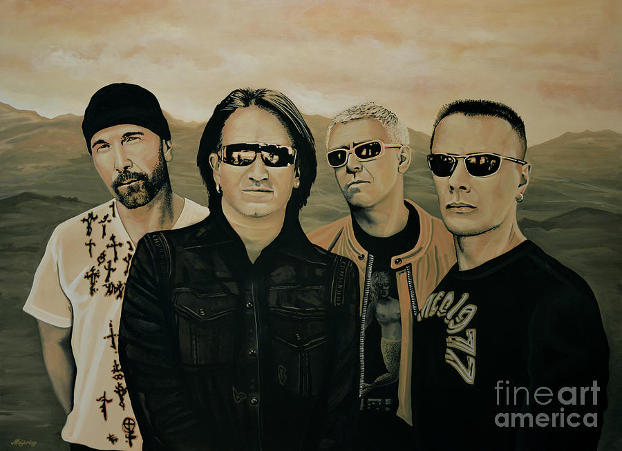 U2 Painting - U2 Silver And Gold by Paul Meijering