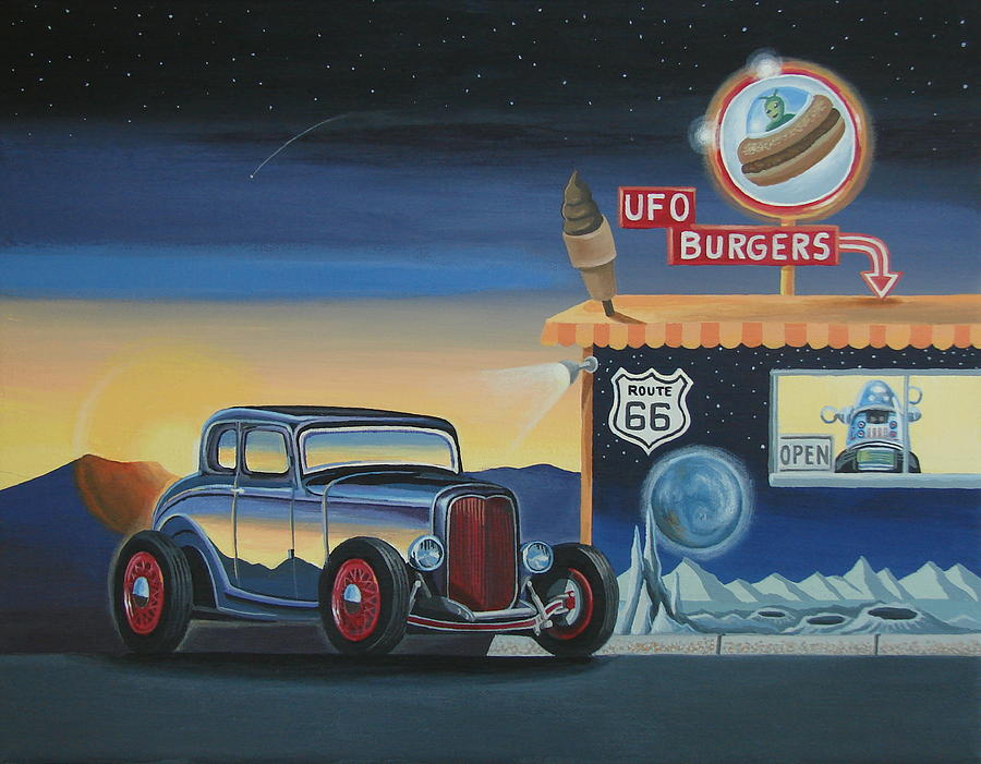 Hot Rod Painting - U.f.o. Burgers by Stuart Swartz
