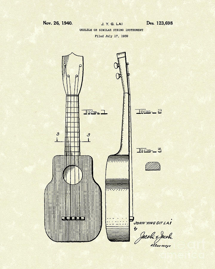 Lai Drawing - Ukelele 1940 Patent Art by Prior Art Design
