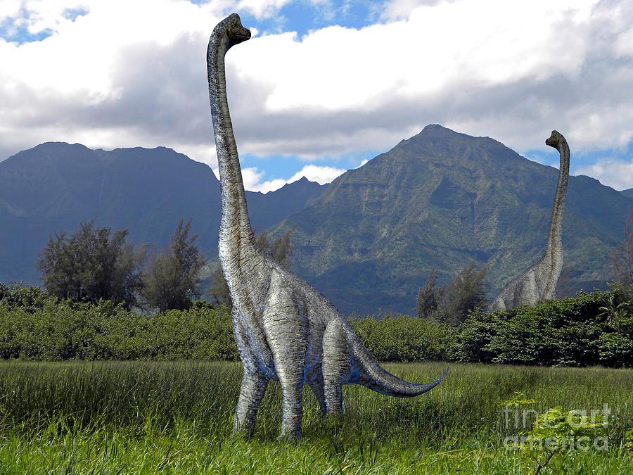 Dinosaur Mixed Media - Ultrasaurus In Meadow by Frank Wilson