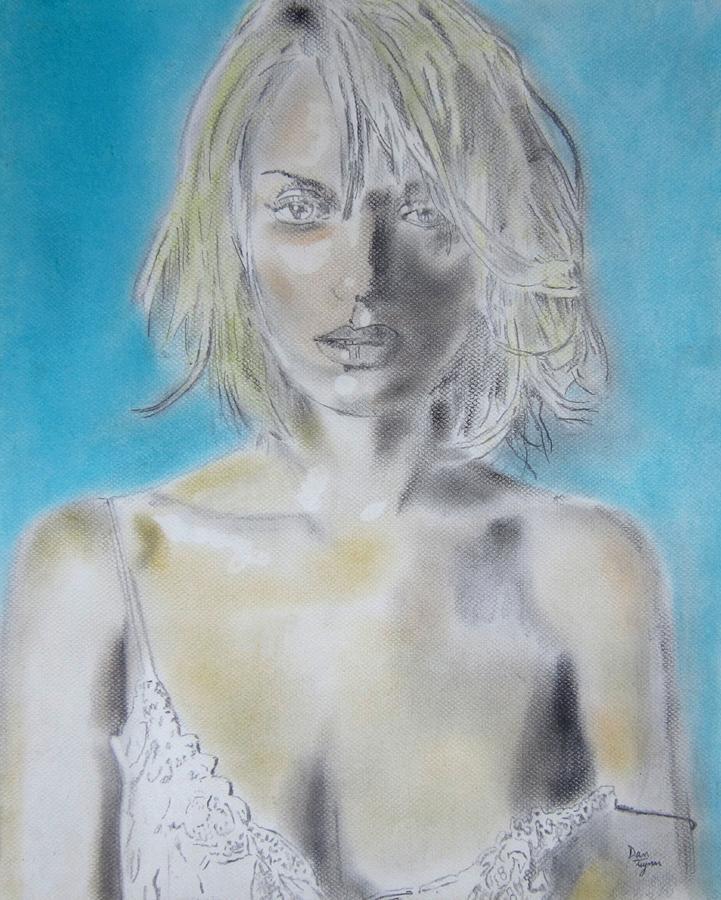 Uma Thurman Drawing Drawing - Uma Thurman Portrait by Dan Twyman