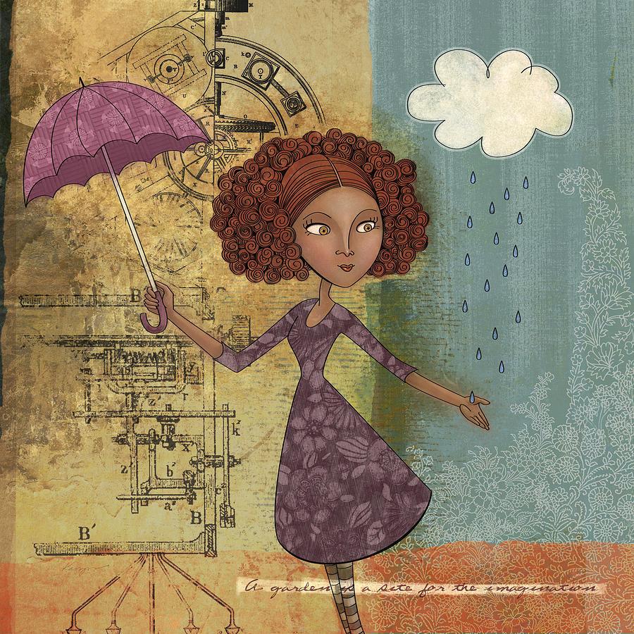 Girl Drawing - Umbrella Girl by Karyn Lewis Bonfiglio