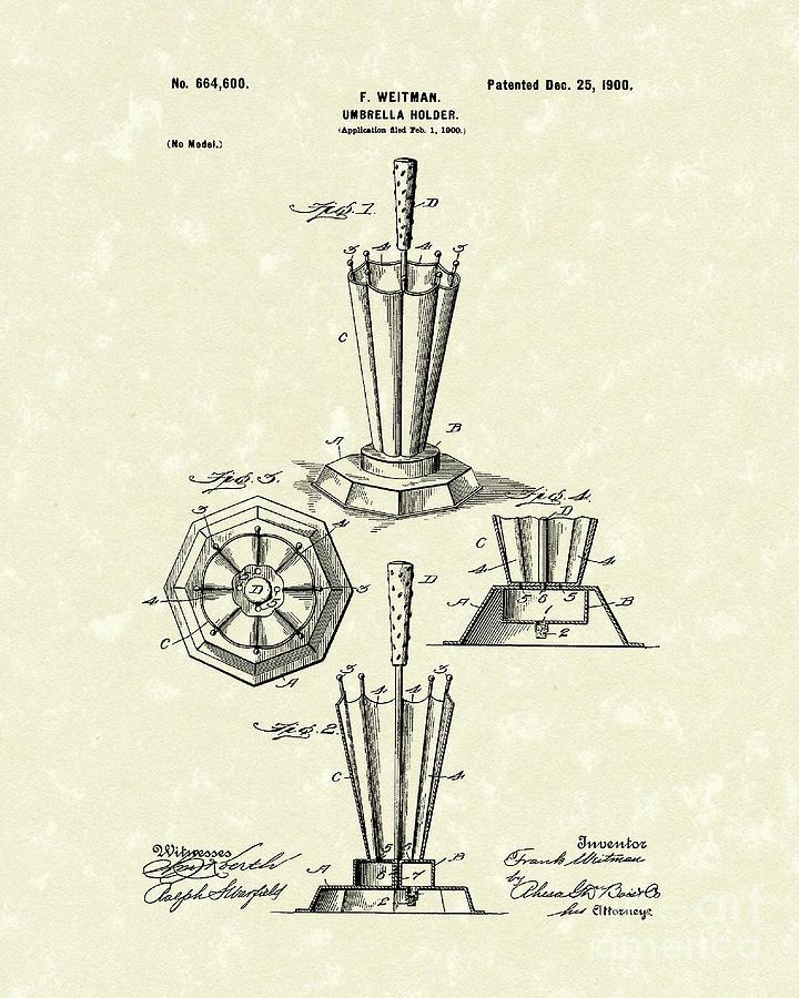 1900 Drawing - Umbrella Holder 1900 Patent Art by Prior Art Design