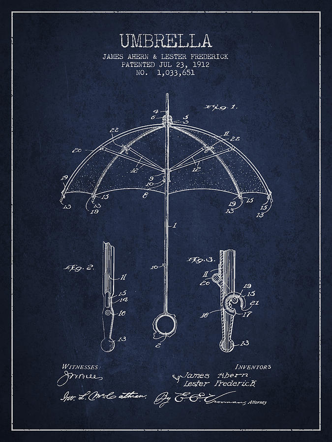 Umbrella Digital Art - Umbrella Patent Drawing From 1912 by Aged Pixel