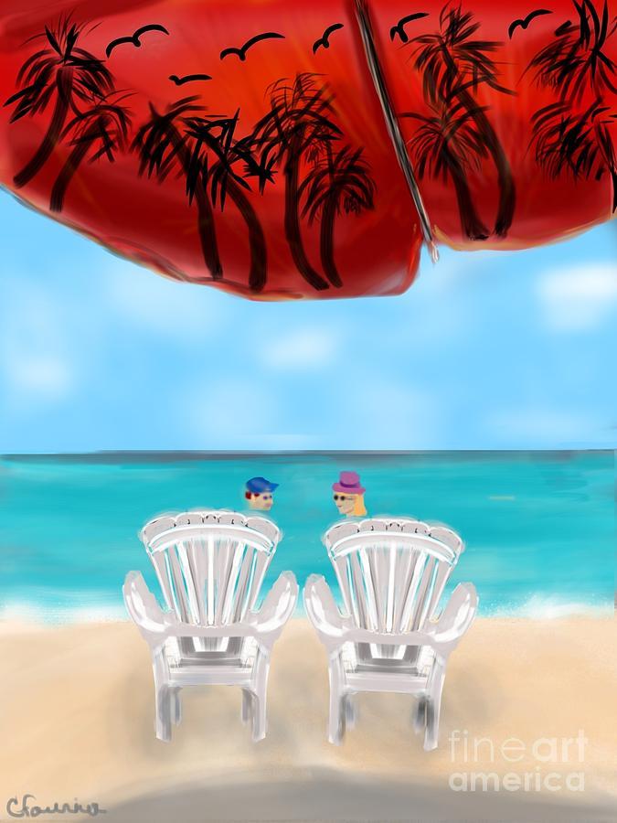 Tropical Digital Art - Umbrella View by Christine Fournier