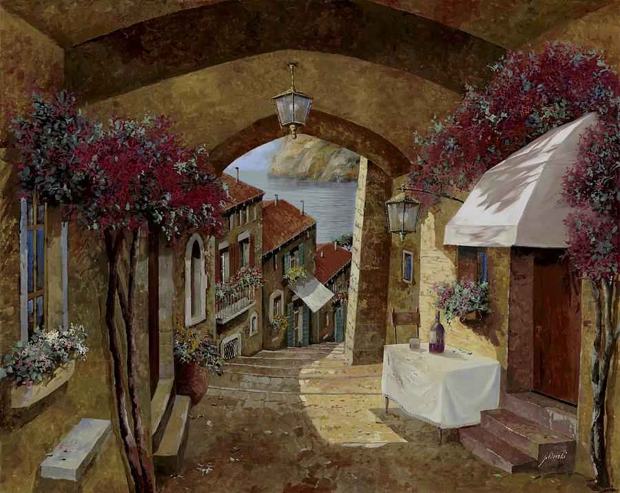 Streetscape Painting - Un Bicchiere Sotto Il Lampione by Guido Borelli