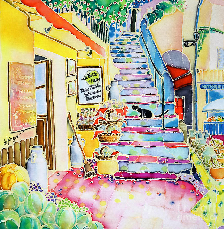 Cat Painting - Un Coin De St-tropez by Hisayo Ohta