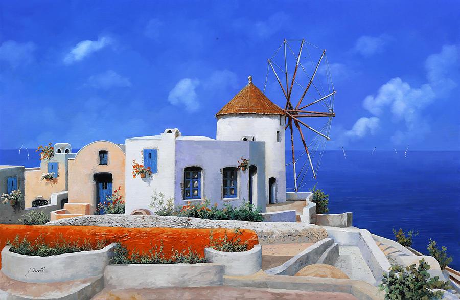 un mulino in Grecia Painting
