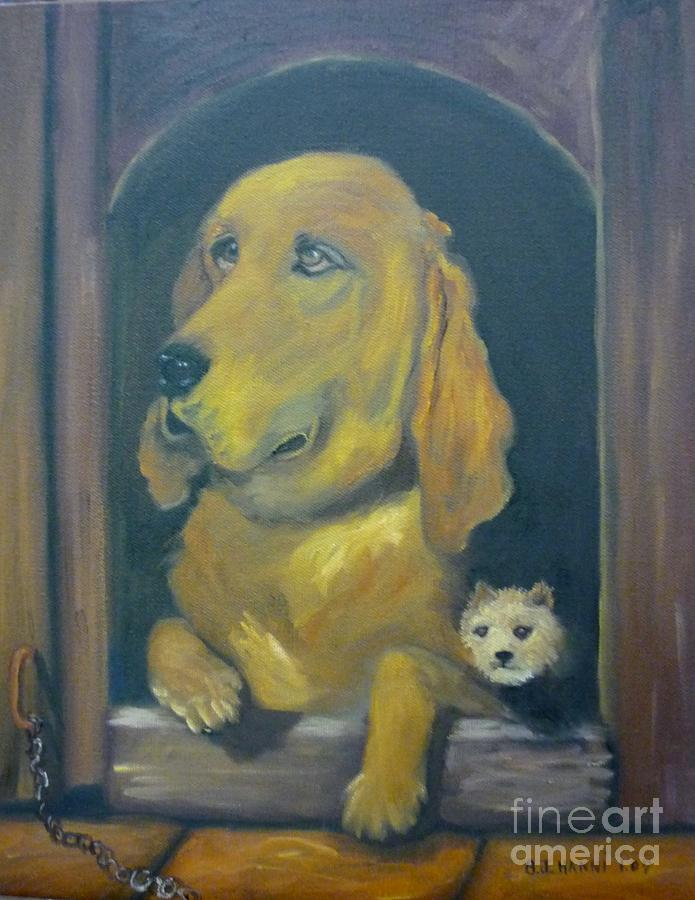 Dog Painting - Unchained by Beverly Hanni