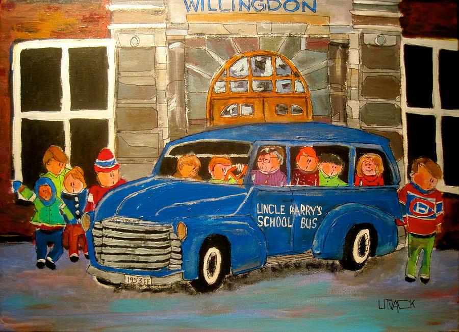 School Bus Painting - Uncle Harrys At Willingdon by Michael Litvack