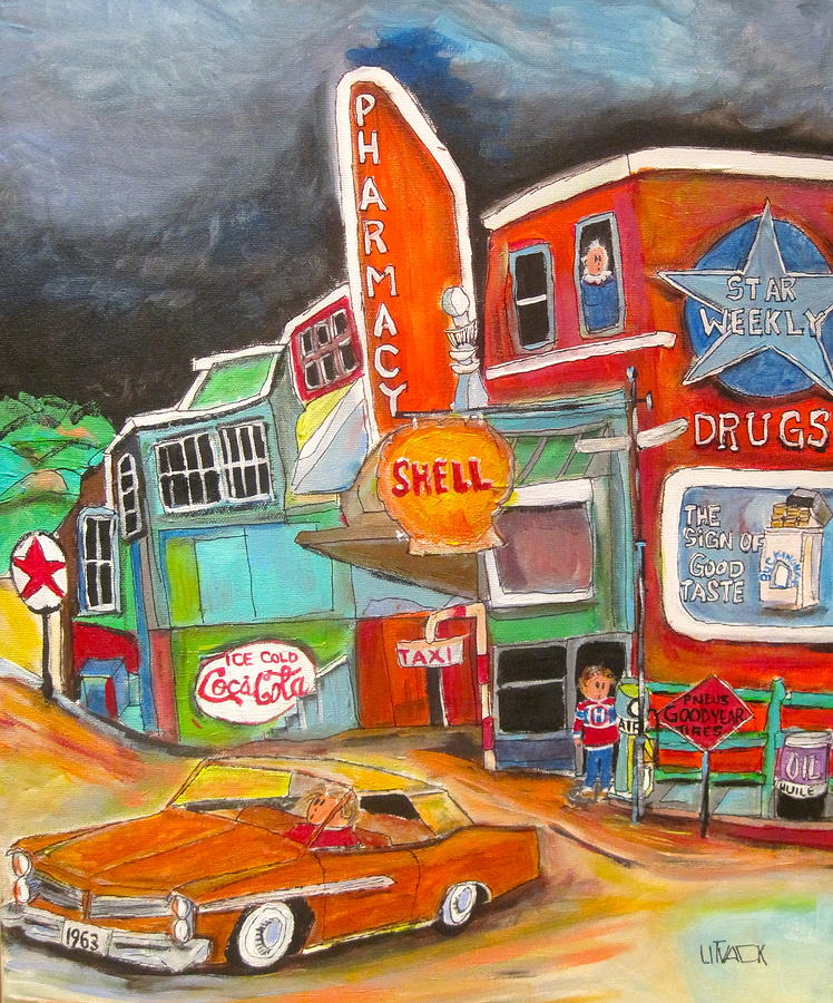 Convertible Painting - Uncle Nuttys St. Agathe 1960s by Michael Litvack