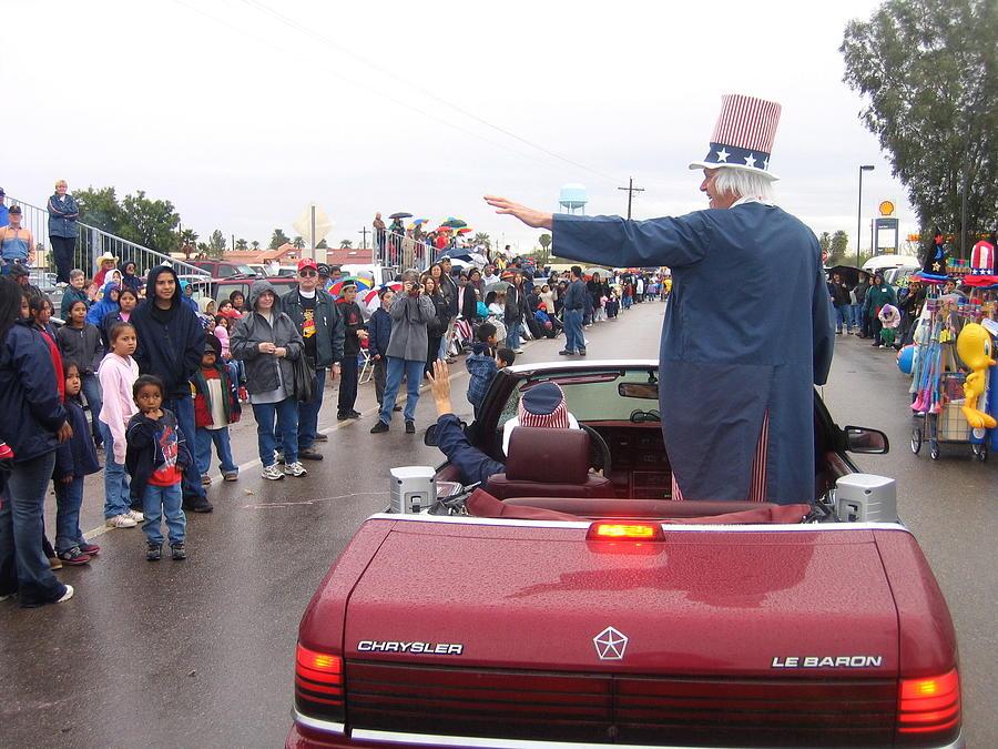 Uncle Sam Waving To Crowd In A Parade Sacaton Arizona 2004 Photograph