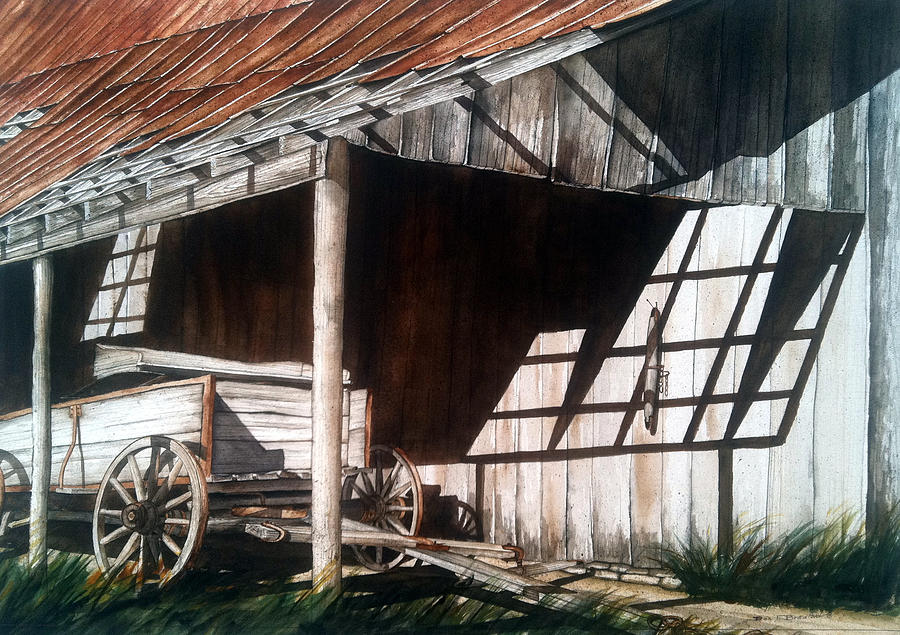 Wagon Painting - Uncle Seifs Wagon  by Don F  Bradford