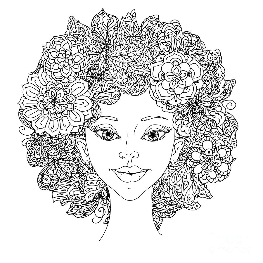 Beauty Digital Art - Uncolored Girlish Face For Adult by Mashabr