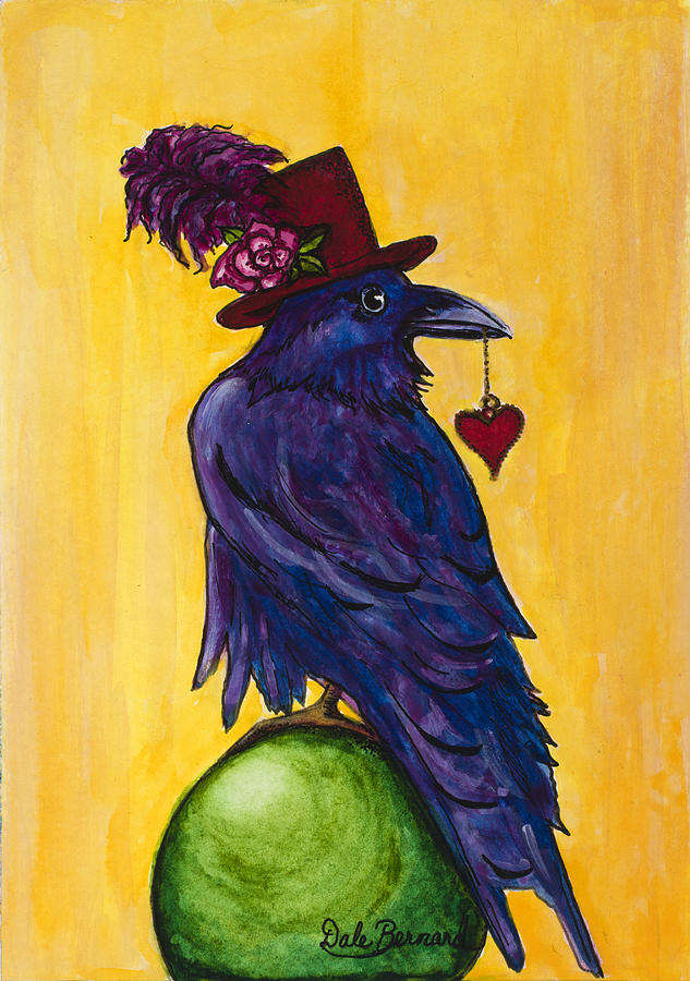Raven Painting - Uncommon Raven Love 1 by Dale Bernard