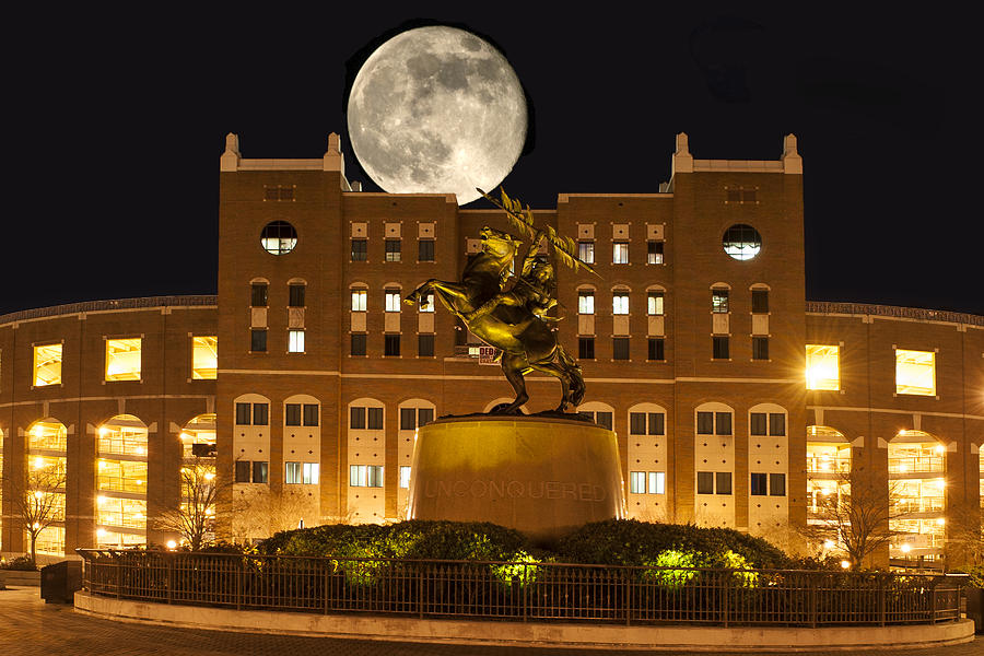 Florida State University Digital Art - Unconquered Doak Campbell Full Moon by Frank Feliciano