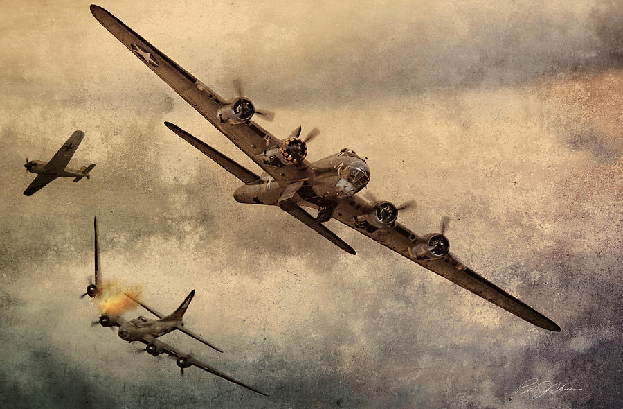B-17 Bomber Digital Art - Under Attack by Peter Chilelli