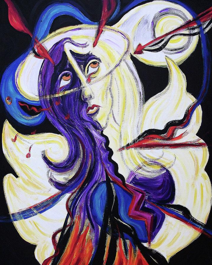 Purple Painting - Under Attack by Suzanne  Marie Leclair