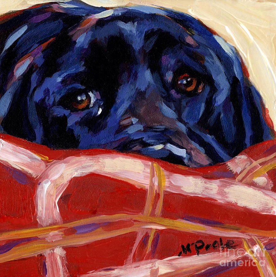 Black Labrador Retriever Painting - Under Cover by Molly Poole