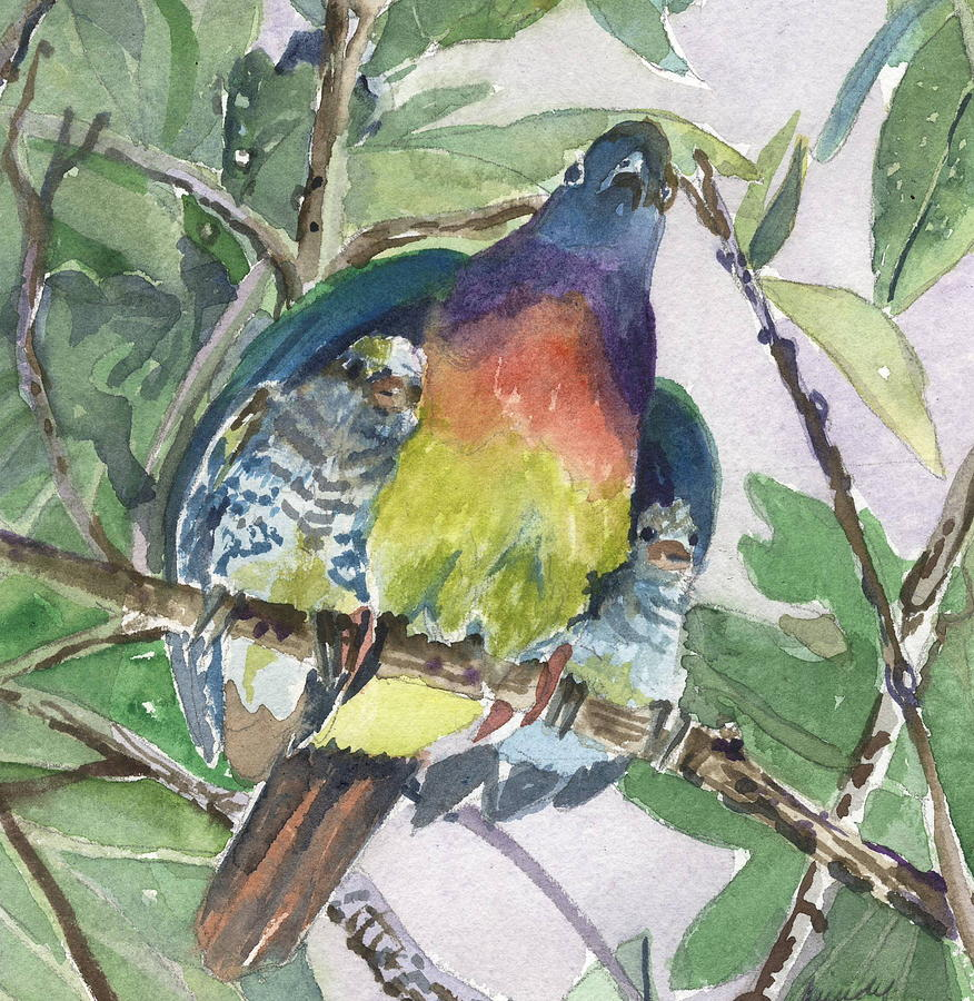 Dove Painting - Under Her Wings by Mindy Newman