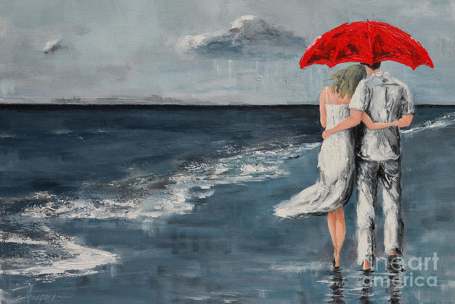 Acrylic Painting - Under our Umbrella - Modern Impressionistic Art - Romantic Scene by Patricia Awapara