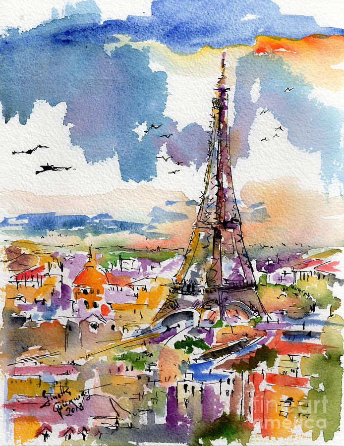 Under Paris Skies Eiffel Tower by Ginette Callaway