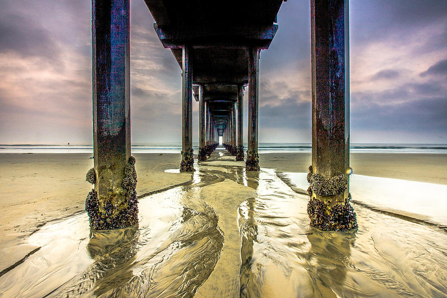 Ocean Photograph - Under Scripps Pier by Robert  Aycock
