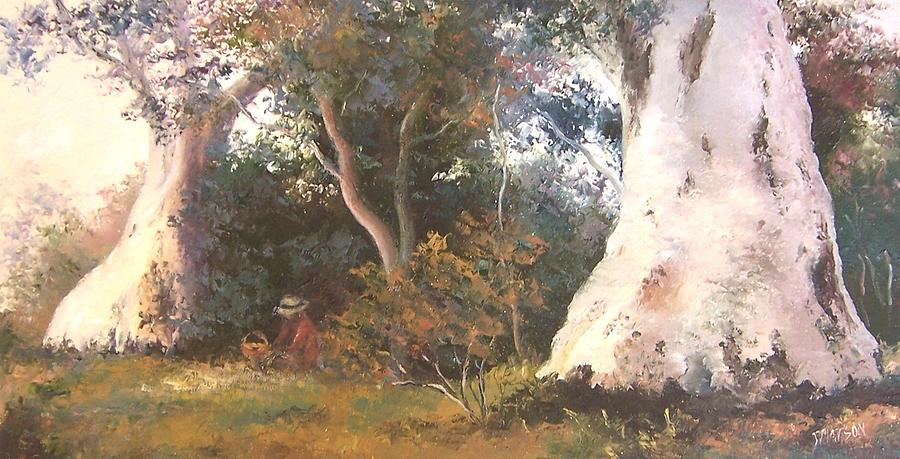 Gum Trees Painting - Under The Ancient Gum Tees by Jan Matson