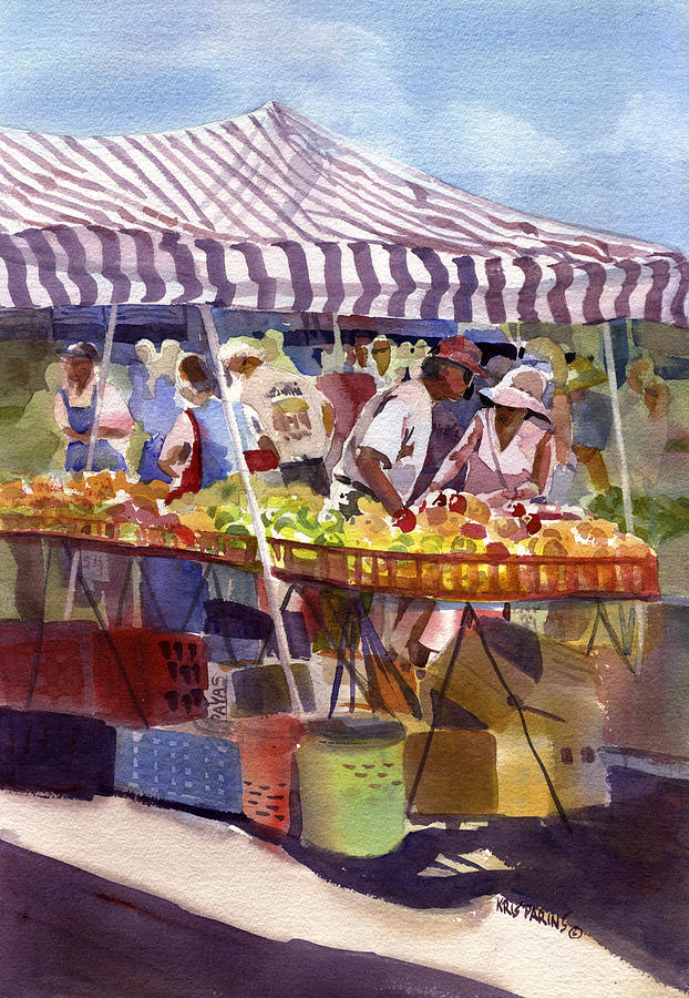 Kris Parins Painting - Under The Awning by Kris Parins