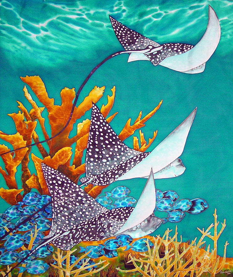 Eagle Ray Painting - Under The Bahamian Sea by Daniel Jean-Baptiste