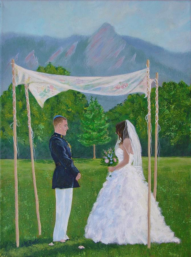 Jewish Wedding Painting - Under the Chuppah by Margaret Bobb