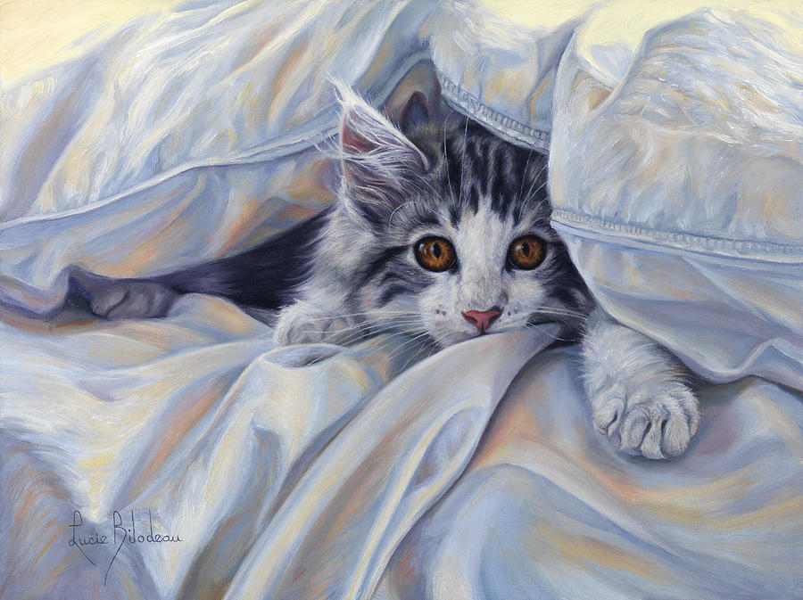 Under The Comforter Painting By Lucie Bilodeau